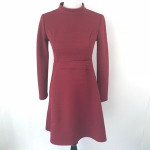 Modcloth Red Textured Dress 60s style